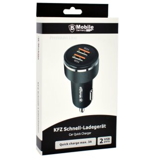 KFZ-Schnell-Ladeadapter 12V mit 2 USB Ports (PREMIUM LINE) - 3.0A